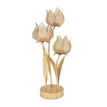 Sfeșnic pentru 3 lumânări Mauro Ferretti Flowery, înălțime 66 cm, auriu imagine