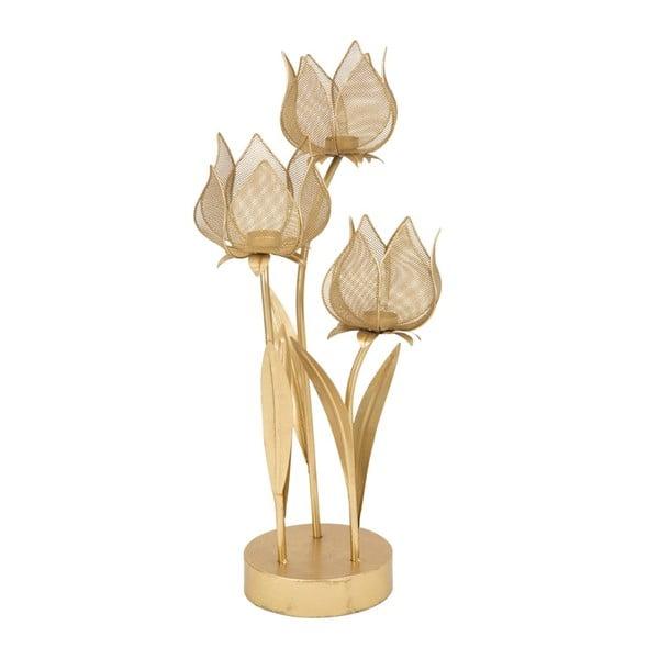 Sfeșnic pentru 3 lumânări Mauro Ferretti Flowery, înălțime 66 cm, auriu