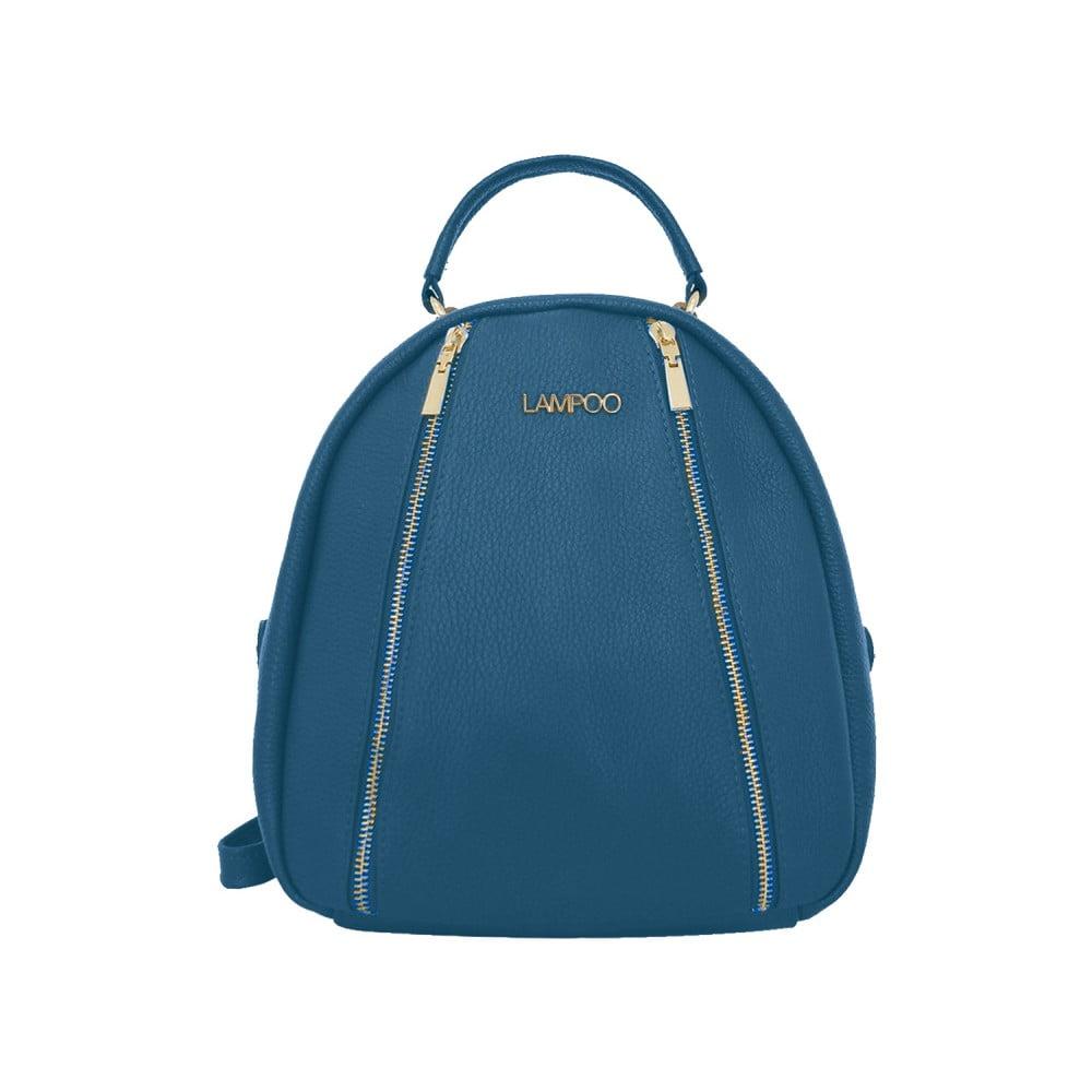 Modrý kožený batoh Lampoo Lucy