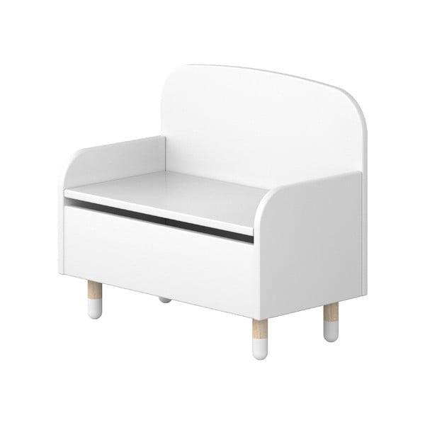 Bílá úložná lavice s opěrkou Flexa Play