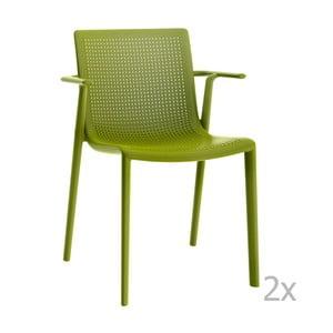 Sada 2 zelených  zahradních židlí s područkami Resol Beekat