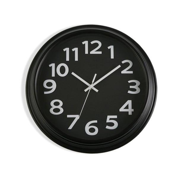 Czarny zegar ścienny Versa In Time, ⌀ 32,7 cm