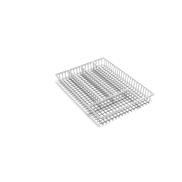 Organizér na příbory z nerezové oceli s bílým lemem Addis Wire, 36,5 cm