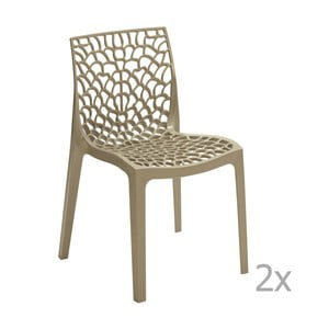 Sada 2 béžových jídelních židlí Castagnetti Apollonia