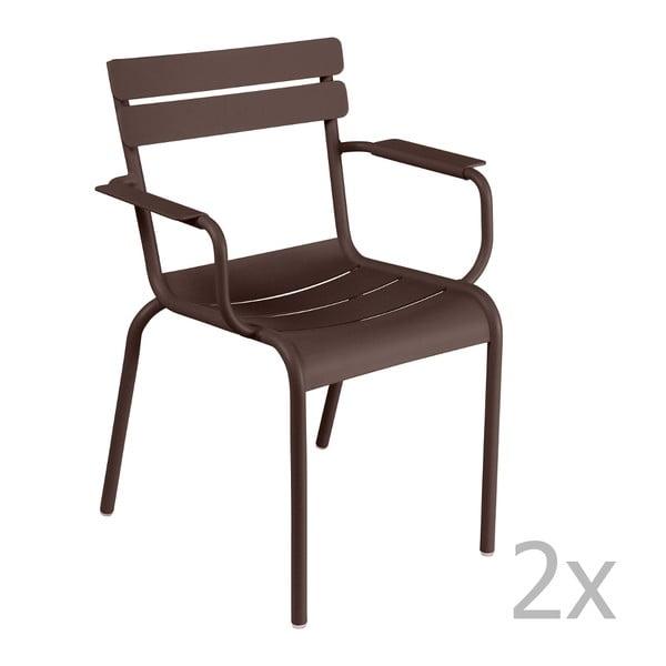 Sada 2 hnědých židlí s područkami Fermob Luxembourg