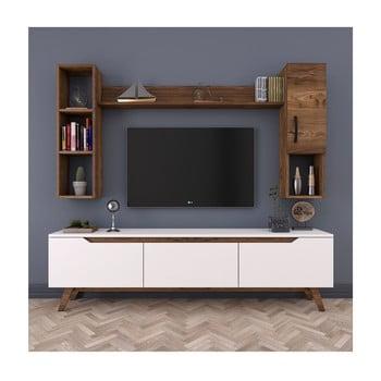 Set comodă TV, 2 rafturi și dulap de perete Rani White