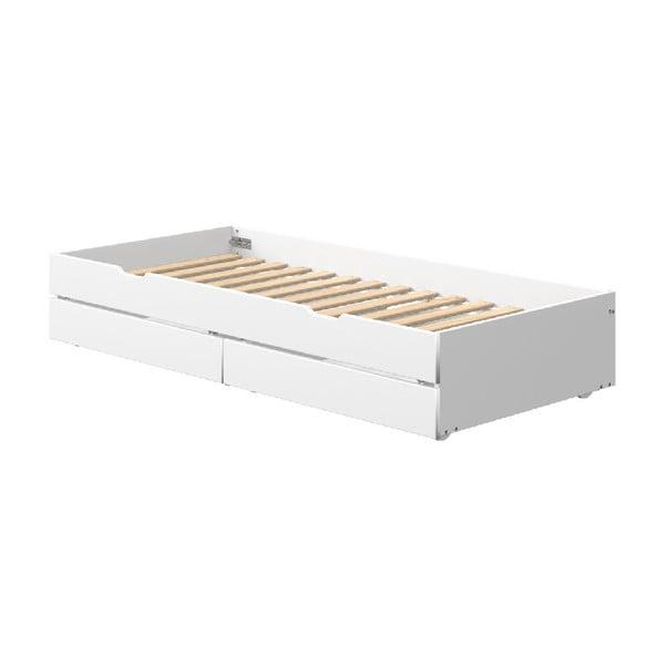 Bílé přídavné výsuvné lůžko s 2 zásuvkami pod dětskou postel Flexa White