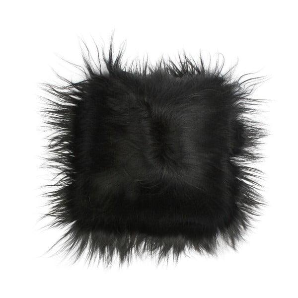 Kožešinový polštář Iceland Black, 35x35 cm