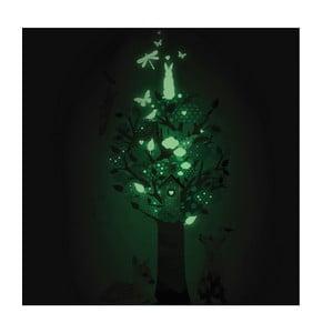 Samolepka svítící ve tmě Tree, zelená