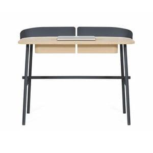Tmavě šedý pracovní stůl z dubového dřeva HARTÔ Victor, 100x60cm