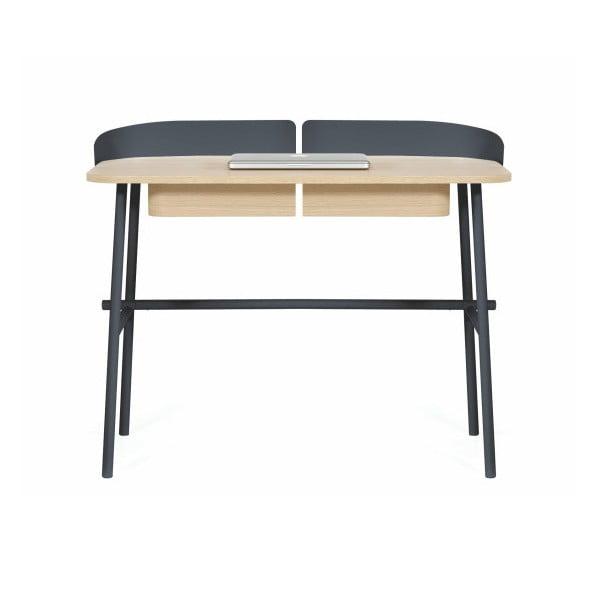 Tmavě šedý pracovní stůl v dekoru dubového dřeva HARTÔ Victor, 100x60cm