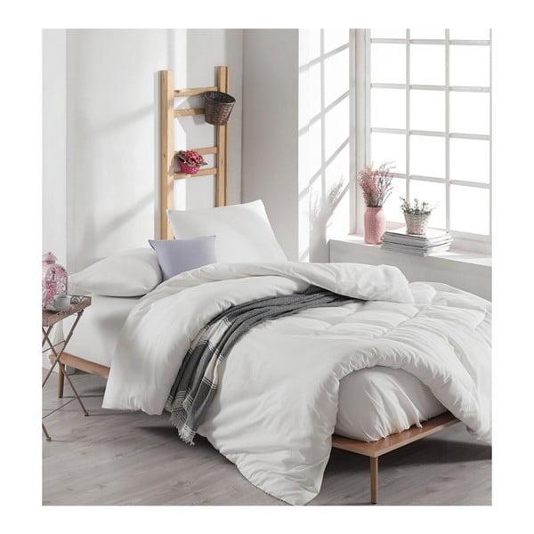 Lenjerie de pat și cearșaf din bumbac Anna, 200 x 220 cm, alb
