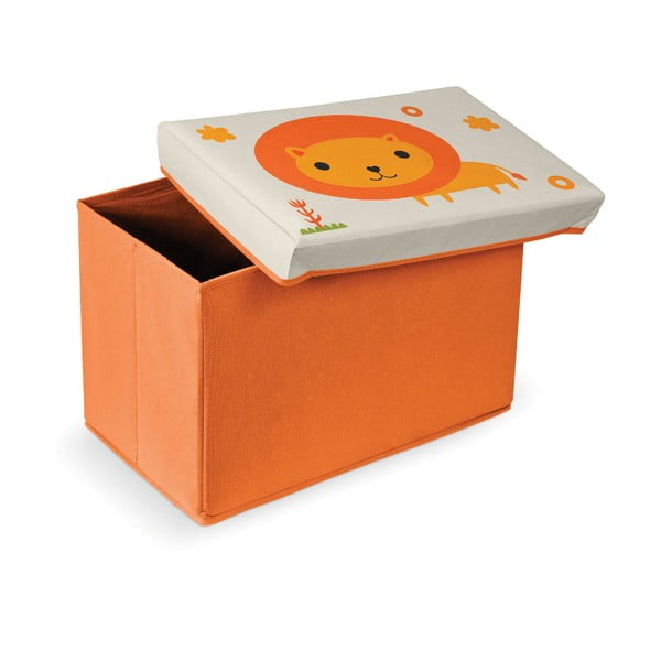 Oranžová podnožka s úložným prostorem Domopak Lion