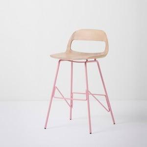 Barová židle se sedákem z masivního dubového dřeva a růžovými nohami Gazzda Leina, výška84cm