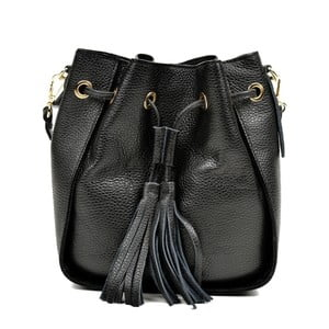 Černá kožená kabelka Carla Ferreri Jessie