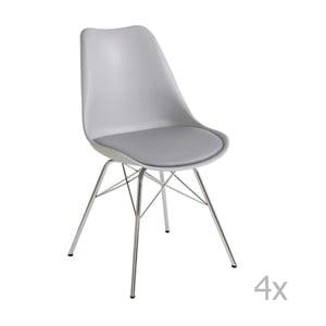 Sada 4 šedých jídelních židlí 13Casa Brigitte
