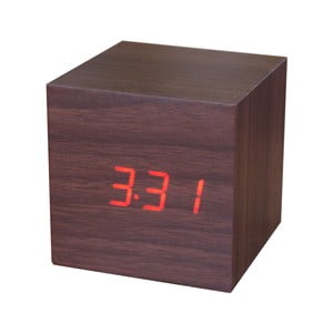 Hnědý budík s červeným LED displejem Gingko Cube Click Clock