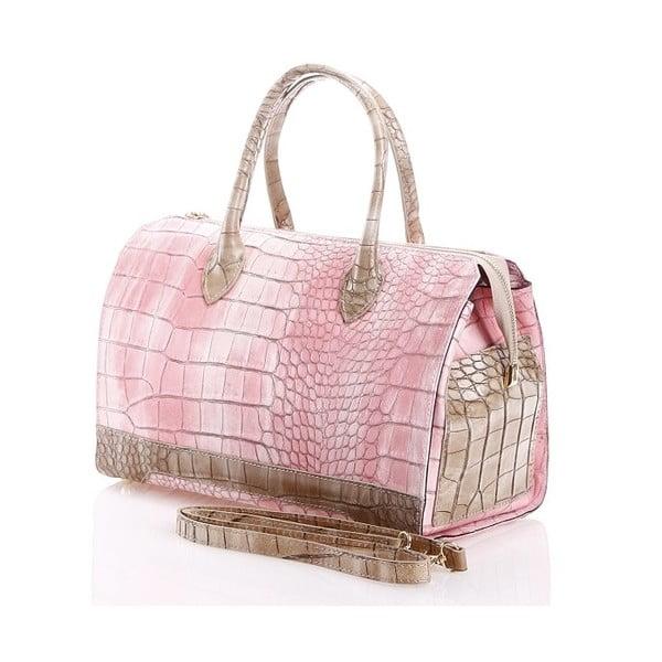 Kožená kabelka Livie, růžová