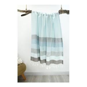 Prosop din bumbac pur Hammam Strip Style, 90  x  180 cm, albastru