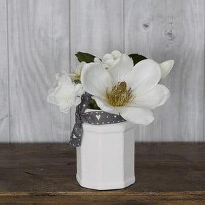 Skleněná váza s umělou květinou Hydragena, 16 cm
