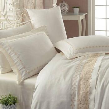 Lenjerie de pat cu cearșaf din bumbac satinat Lace Harmony, 200 x 220 cm de la Cotton Box