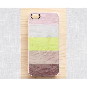 Obal na iPhone 4/4S, Neon, Stripes & Wood/white