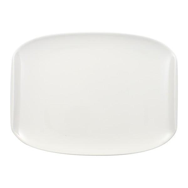 Biely hranatý porcelánový tanier Villeroy & Boch Urban Nature, 27 x 20 cm