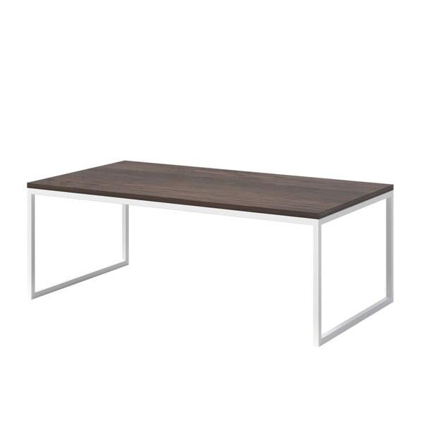 Konferenční stolek s tmavou deskou z dubového dřeva s bílým podnožím MESONICA Eco, 110x60cm