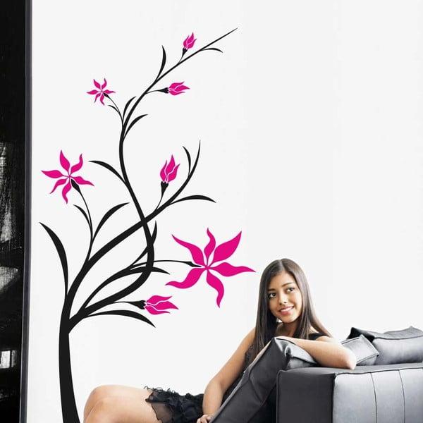 Samolepka na stěnu Pletené květiny, černá a růžová