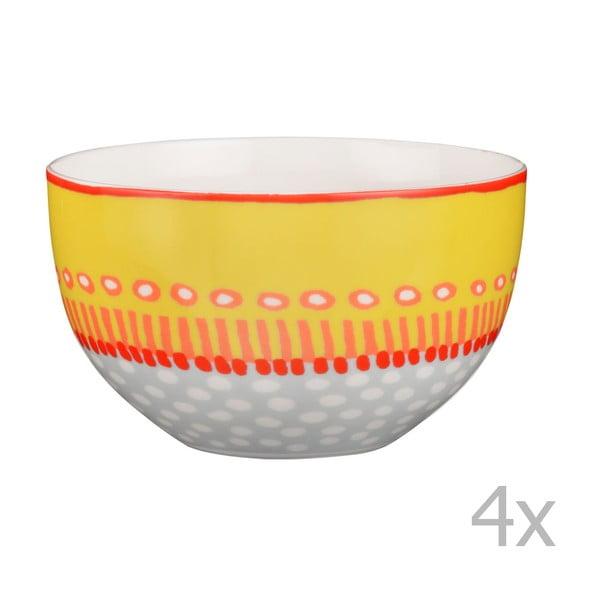 Sada 4 porcelánových misek Oilily 12 cm, žlutá