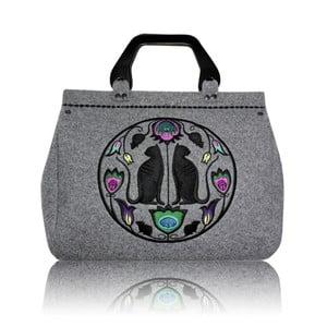 Plstěná vyšívaná kufříková kabelka do ruky Folk kočičí