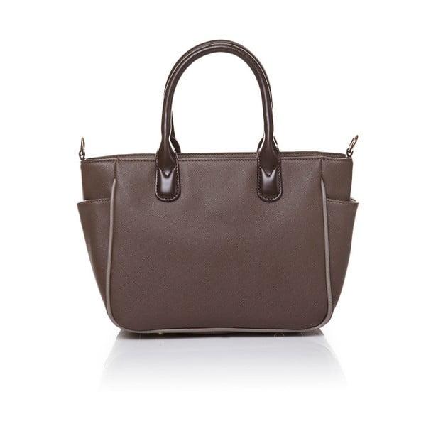 Kožená kabelka do ruky Marta Ponti Pocket Deux, světle hnědá/tmavě hnědá
