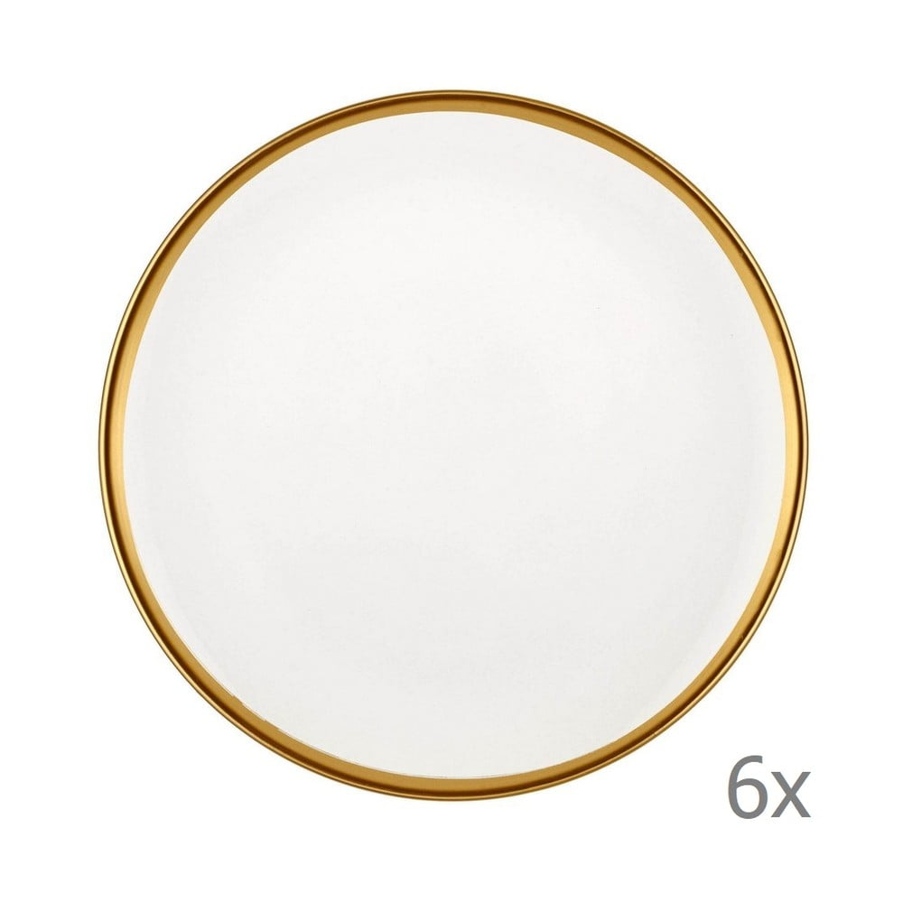 Sada 6 bílých porcelánových dezertních talířů Mia Halos Gold, ⌀ 19 cm