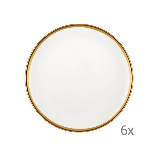 Zestaw 6 białych porcelanowych talerzy deserowych Mia Halos Gold, ⌀ 19 cm
