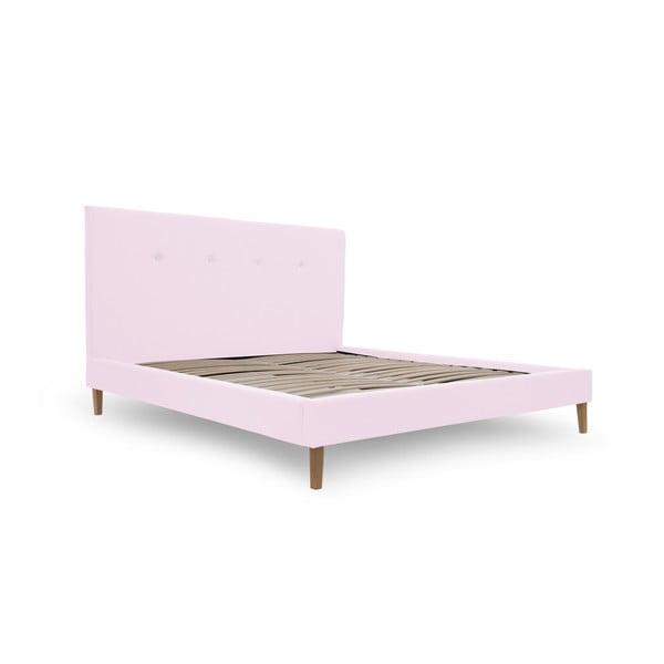 Pastelově růžová postel s přírodními nohami Vivonita Kent,180x200cm