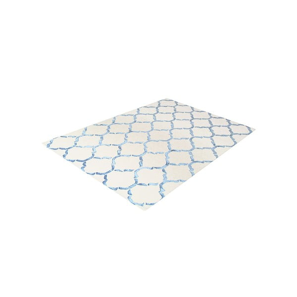 Ručně tuftovaný modrý koberec Chain, 153x244cm