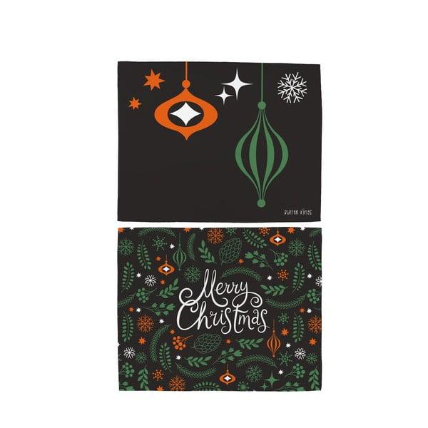Zestaw 2 bawełnianych mat stołowych ze świątecznym motywem Butter Kings Very Merry Christmas, 45x35 cm
