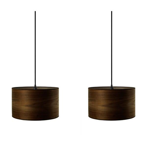 Dvojité závěsné svítidlo z přírodní dýhy v barvě ořechového dřeva Sotto Luce TSURI