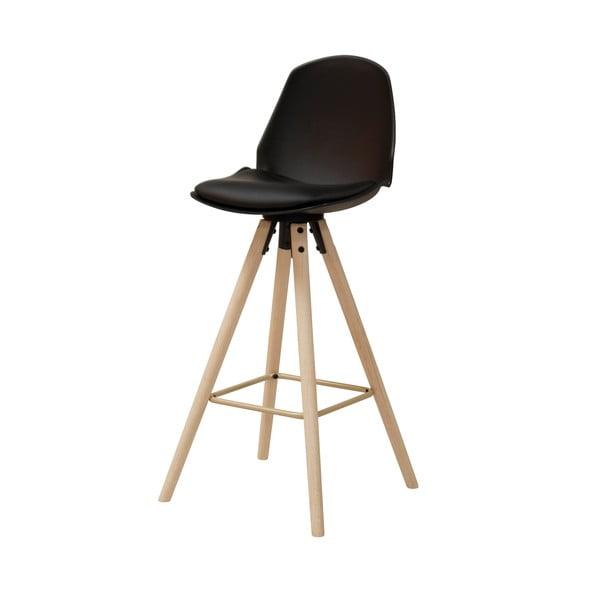 Černá barová židle s podnožím z dubového dřeva Actona Oslo I.