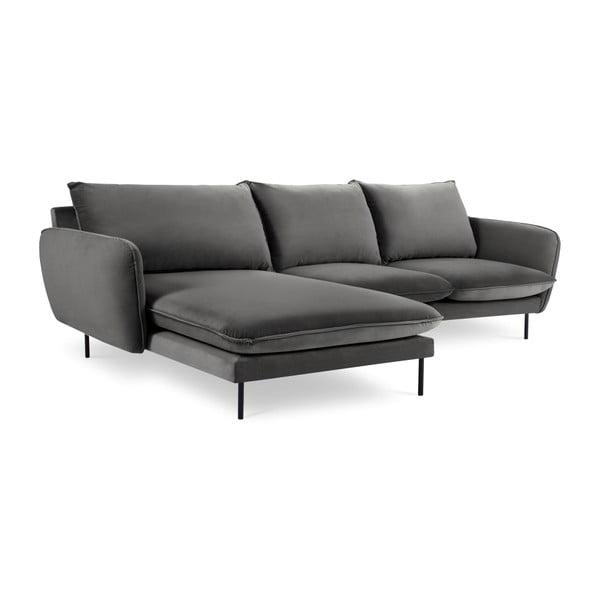 Ciemnoszara narożna aksamitna sofa lewostronna Cosmopolitan Design Vienna