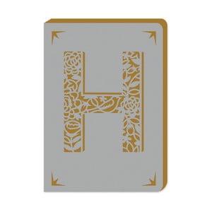 Blocnotes cu linii A6 cu monogramă Portico Designs H, 160 pag.