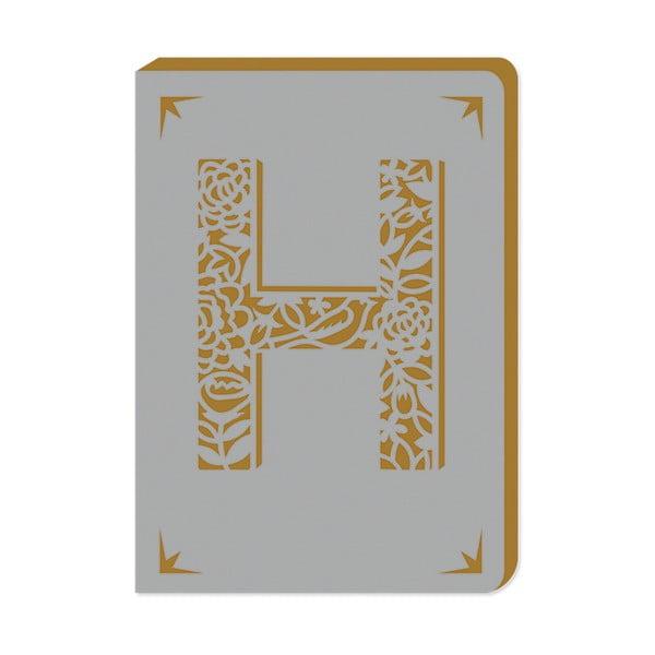 Linkovaný zápisník A6 s monogramem Portico Designs H, 160stránek