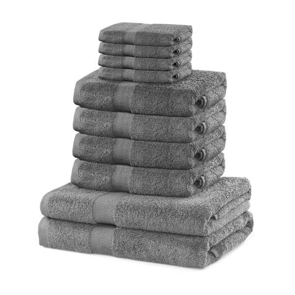 Komplet 8 szarych ręczników i 2 ręczników kąpielowych DecoKing Marina Silver