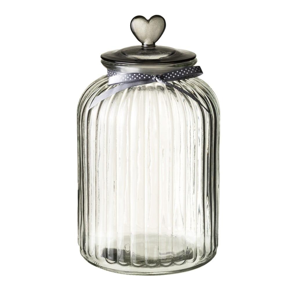 Skleněná dóza s víčkem ve stříbrné barvě Unimasa Heart, 5,4l