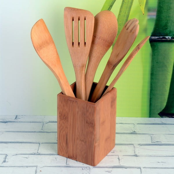 Sada 5 bambusových nástrojů se stojanem Luxy