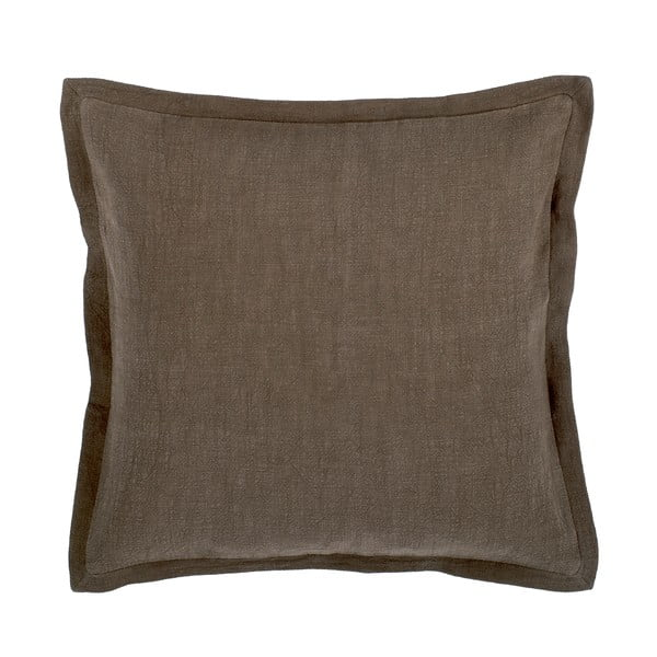 Hnědošedý polštář s příměsí lnu Tiseco Home Studio, 45 x 45 cm