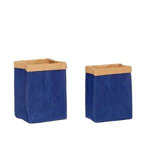 Sada 2 modrých papírových úložných pytlů Hübsch Frederik