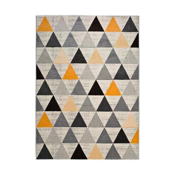 Covor Universal Leo Triangles, 80 x 150 cm, gri-portocaliu