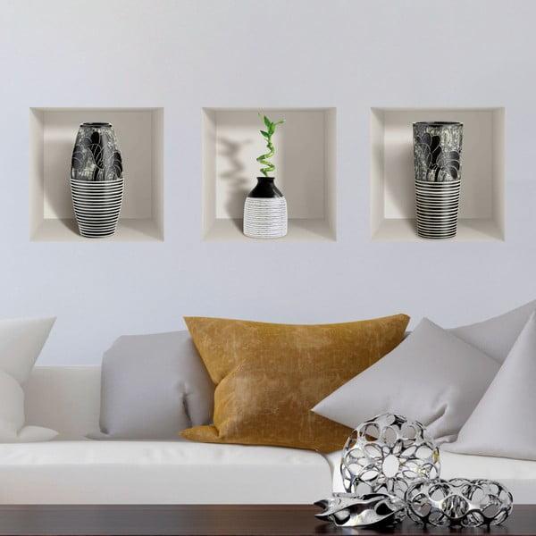 Set 3 autocolante 3D pentru perete Ambiance Modern Vases