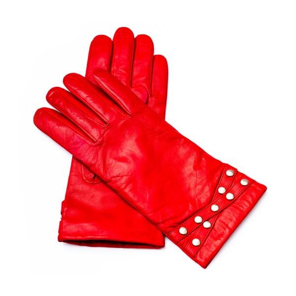 Dámske červené kožené rukavice Pride & Dignity Madrid, veľ. 7